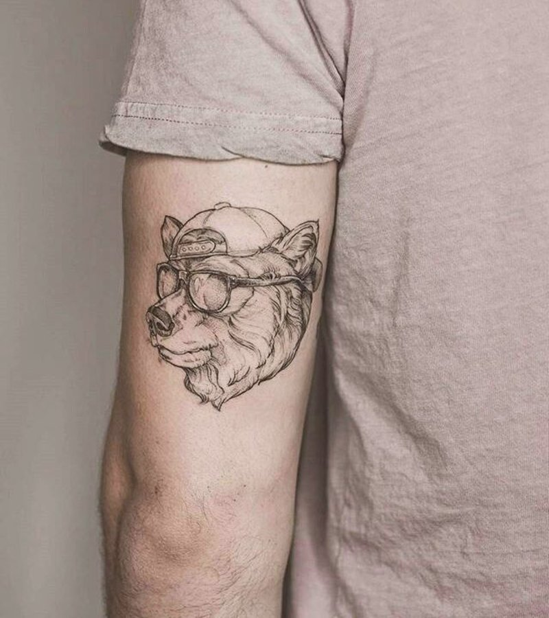 Cool bear with glasses tattoo