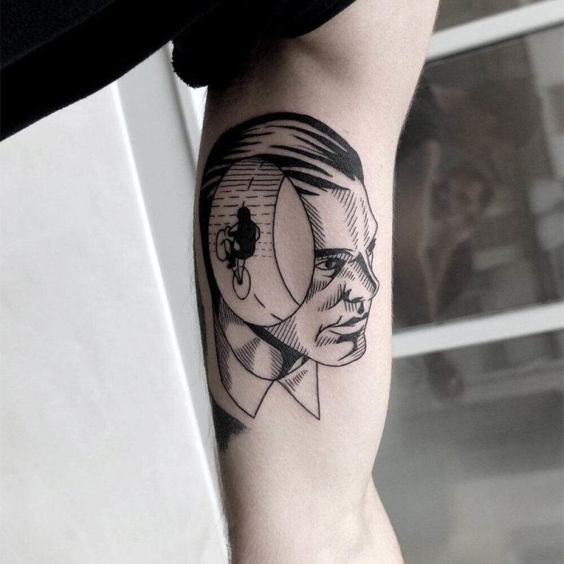 Bicycle in Head tattoo from sixosantos