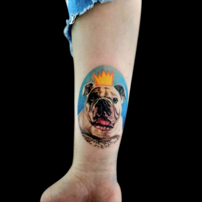 English bulldog colorfull with crown tattoo