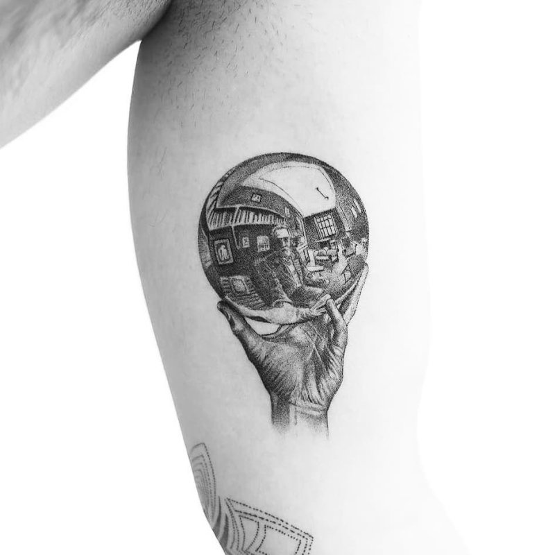 Escher sphere reflection black and white tattoo