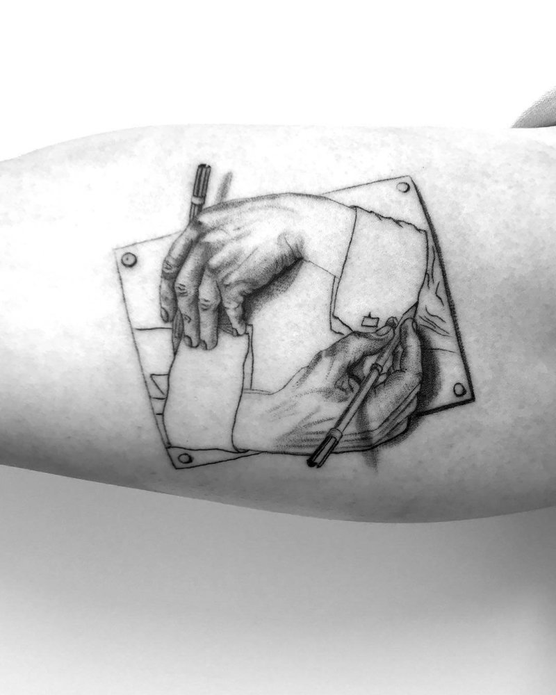 Escher drawing hands realistic painting black and white tattoo