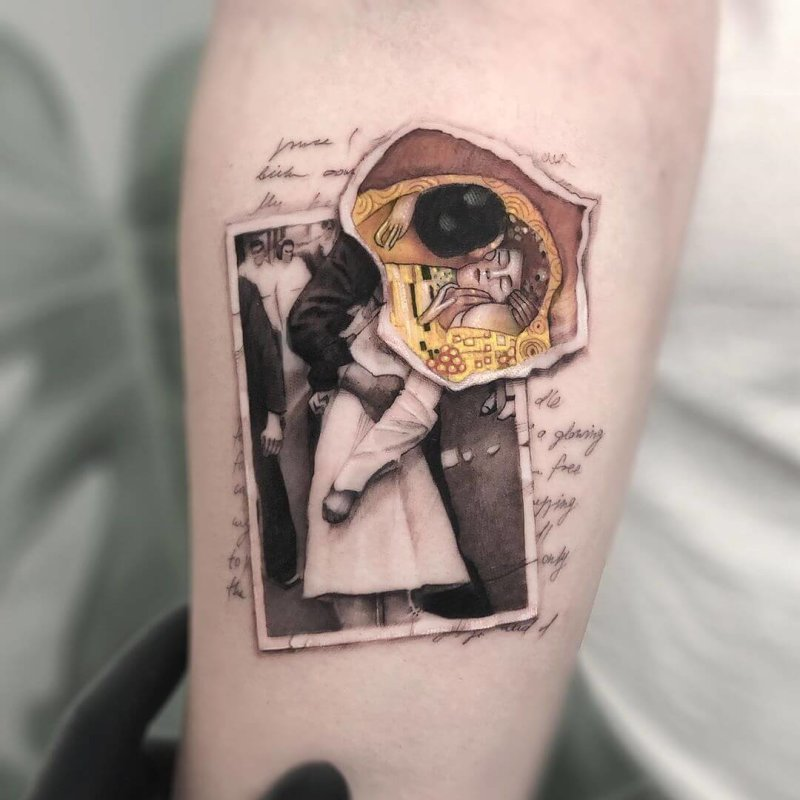 Gustav Klimt painting tattoo on a polaroid mixed styles