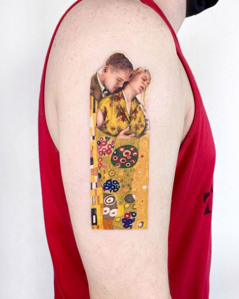 Gustav Klimt painting tattoo mixed styles color