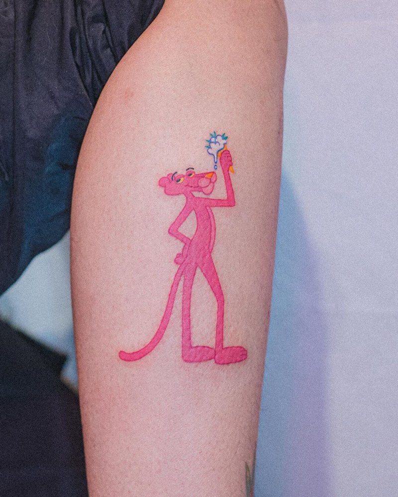Pink Panther full comic linework tattoo