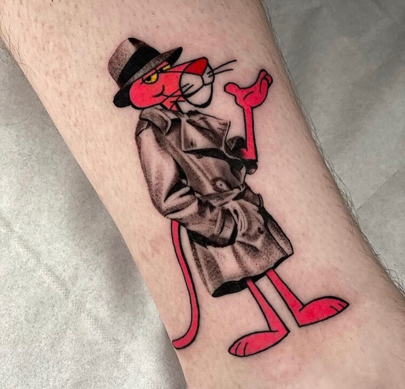 Pink Panther mixed styles comic tattoo