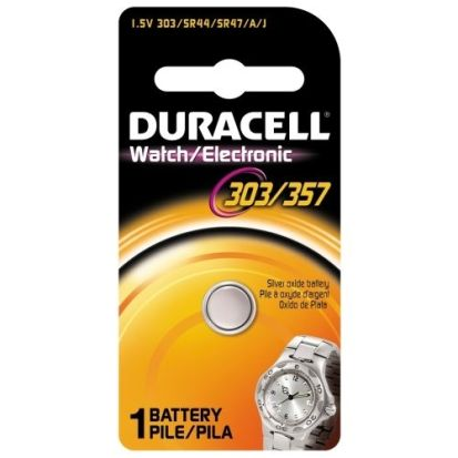Duracell® D303/357PK Button Battery Pack, Silver Oxide, 1.5 VDC, 190 mAh, SR44