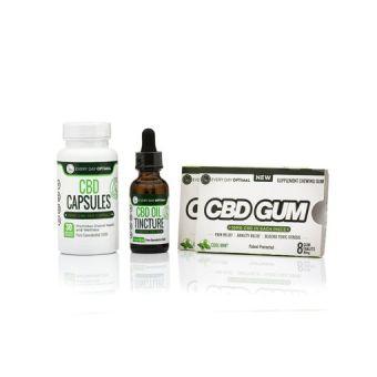 Every Day Optimal - CBD Bundle #1 | 25mg Capsules, 1000mg Tincture, 2 Packs CBD Gum