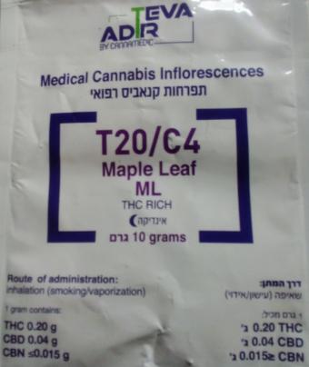 טבע אדיר - תפרחות קנאביס - Maple Leaf (ML) - עלה מייפל T20/C4