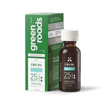 Green Roads - MINT BREEZE BROAD SPECTRUM CBD OIL, 25MG/ML