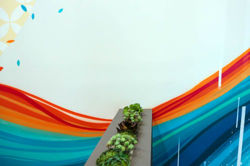 Murals by VESL at One Medical Group, San Francisco - Waiting Room Mural & Sculpture