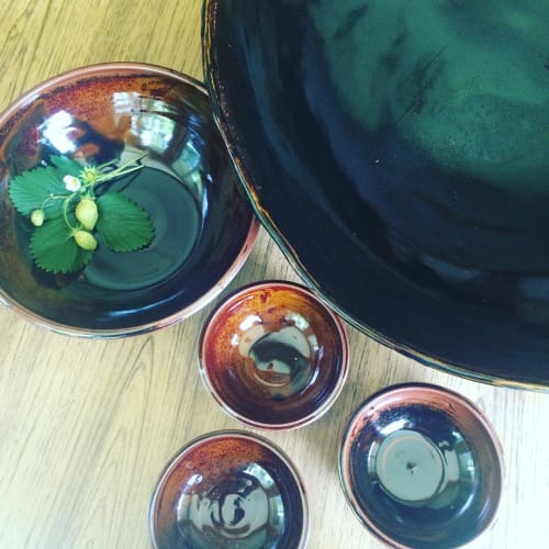 Ceramic Plates by Crazy Green Studios at Budy Finch, Flat Rock - Large Service Platter with Side Dish Bowl