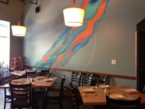 Murals by VESL at Blue Line Pizza, Mountain View, Mountain View - Waves Mural