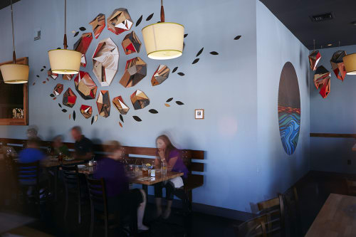 Sculptures by VESL at Blue Line Pizza, San Carlos, San Carlos - Wood Installations