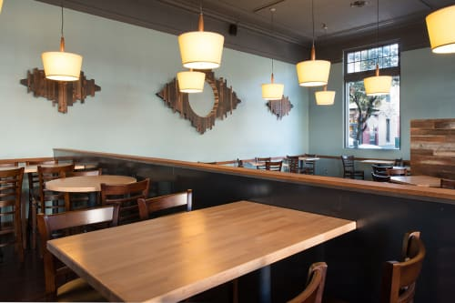 Sculptures by VESL at Blue Line Pizza, Los Gatos, Los Gatos - Wood Installation