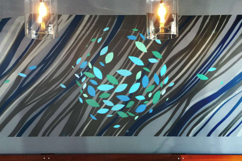 Murals by VESL at Blue Line Pizza, Campbell, Campbell - Waves Mural
