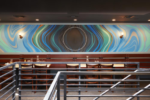 Murals by VESL at Blue Line Pizza, San Carlos, San Carlos - Waves Mural