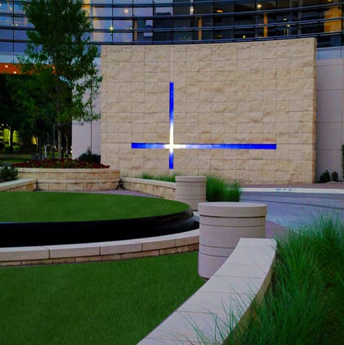"""Sculptures by Walter Gordinier at Baylor University Medical Center, Dallas - """"Cross Over"""" , 190ft. long+ 90ft. tall"""