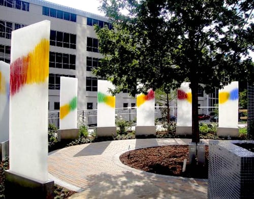 """Sculptures by Walter Gordinier at Children's Medical Center Dallas, Dallas - """"Light Towers"""", and Doctors Garden"""