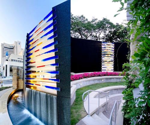 "Sculptures by Walter Gordinier at Baylor University Medical Center, Dallas - ""Glass Falls"" 2013 , East End of ""Lovies Garden"""