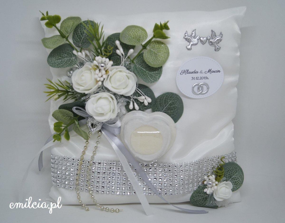 Poduszka na obrączki - biel, zieleń i srebro