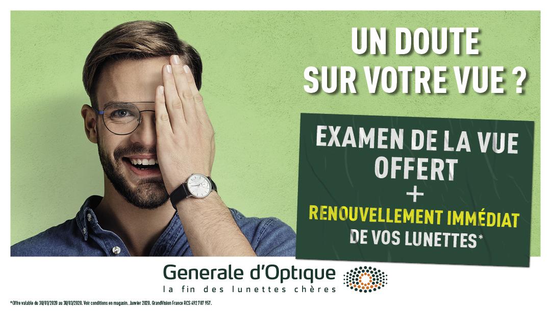 Examen de vue offert chez Générale d'Optique !