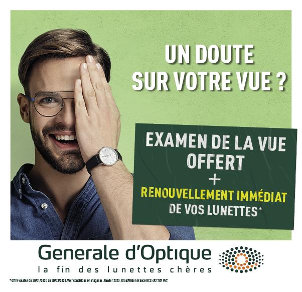 Votre examen de vue offert chez Générale d'Optique !