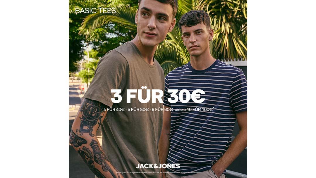 JACK&JONES: 3 Basic Tees für €30
