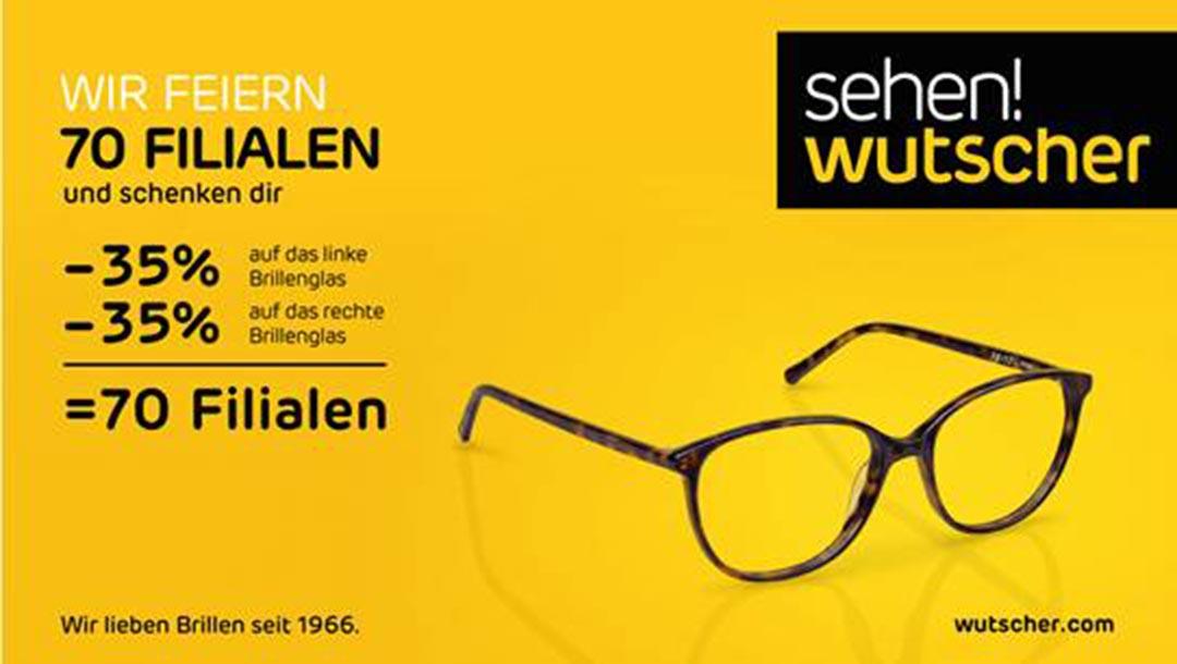 sehen!wutscher: -35% auf das linke und das rechte Brillenglas = 70 Filialen