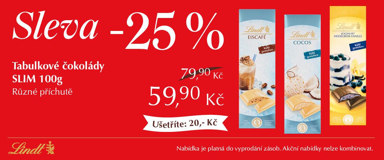 Tabulkové čokolády Slim ICE - 25 %