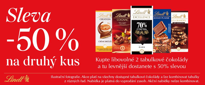 Tabulkové čokolády druhý kus se slevou 50%