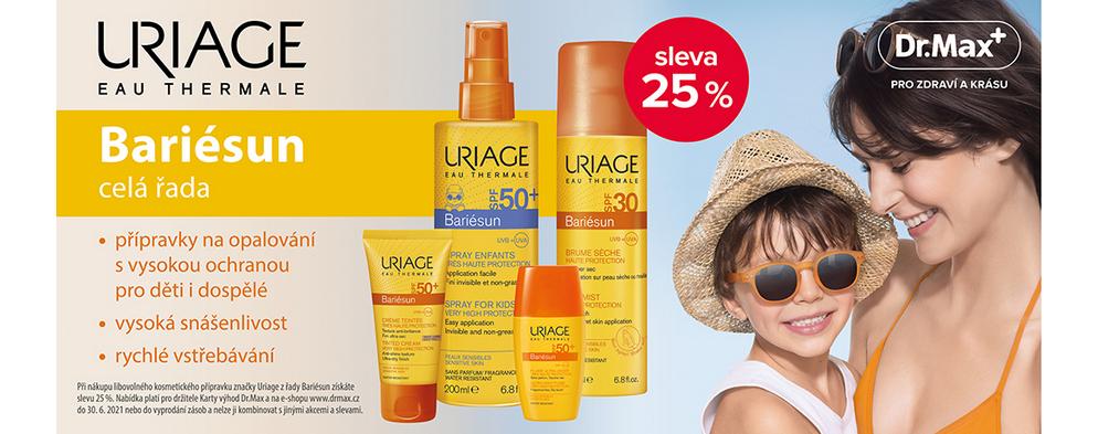 Akční sleva na opalovací prostředky kosmetiky Uriage Bariesun