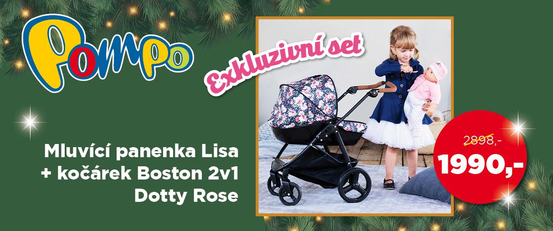 Exkluzivní set Mluvící panenka Lisa + kočárek Boston 2v1 Dotty Rose