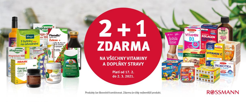 Akce 2 + 1 ZDARMA na všechny vitaminy a doplňky stravy