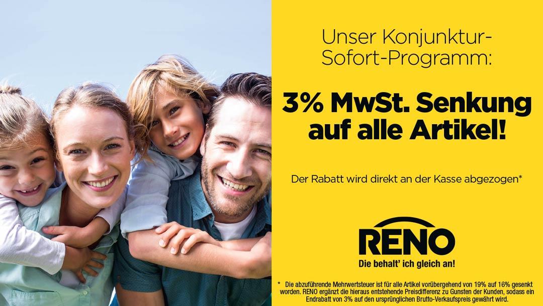RENO senkt für euch die Mehrwertsteuer!