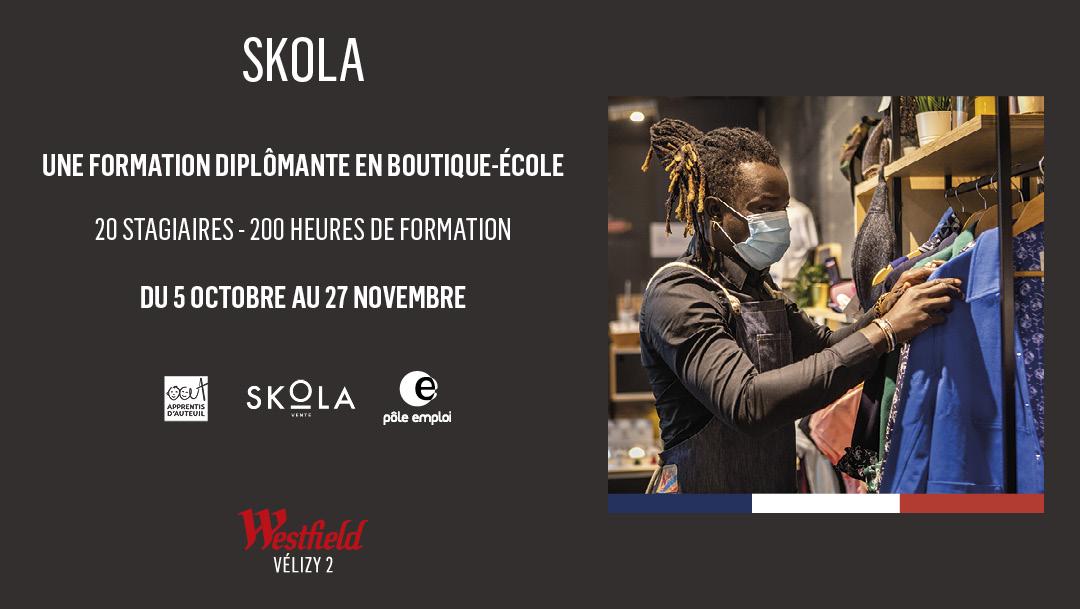Westfield Vélizy 2 renouvelle son engagement avec Apprentis d'Auteuil : SKOLA Vente, formation innovante en boutique éphémère est de retour.