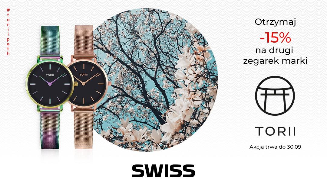 -15% na drugi zegarek marki Torii w salonie SWISS