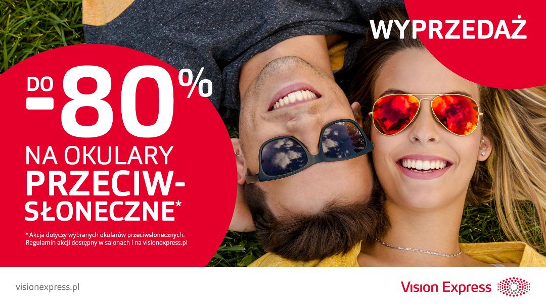 Wyprzedaż okularów przeciwsłonecznych do -80% w Vision Express