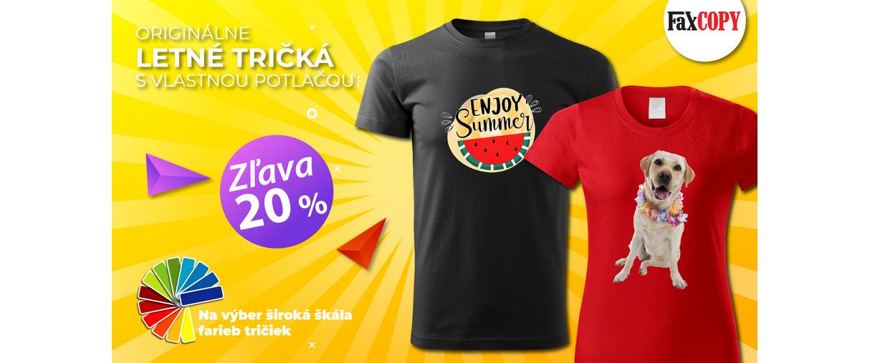 Originálne letné tričká s vlastnou potlačou so zľavou 20 %