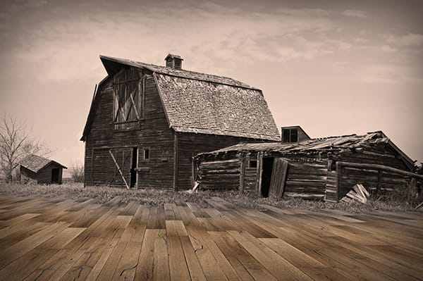 Wood flooring style with barn in the background