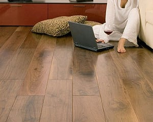 Women with laptop on a dark hardwood flooring