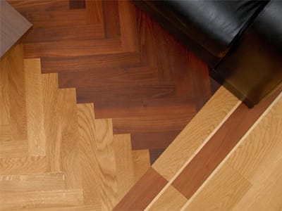 overhead shot of parquet flooring