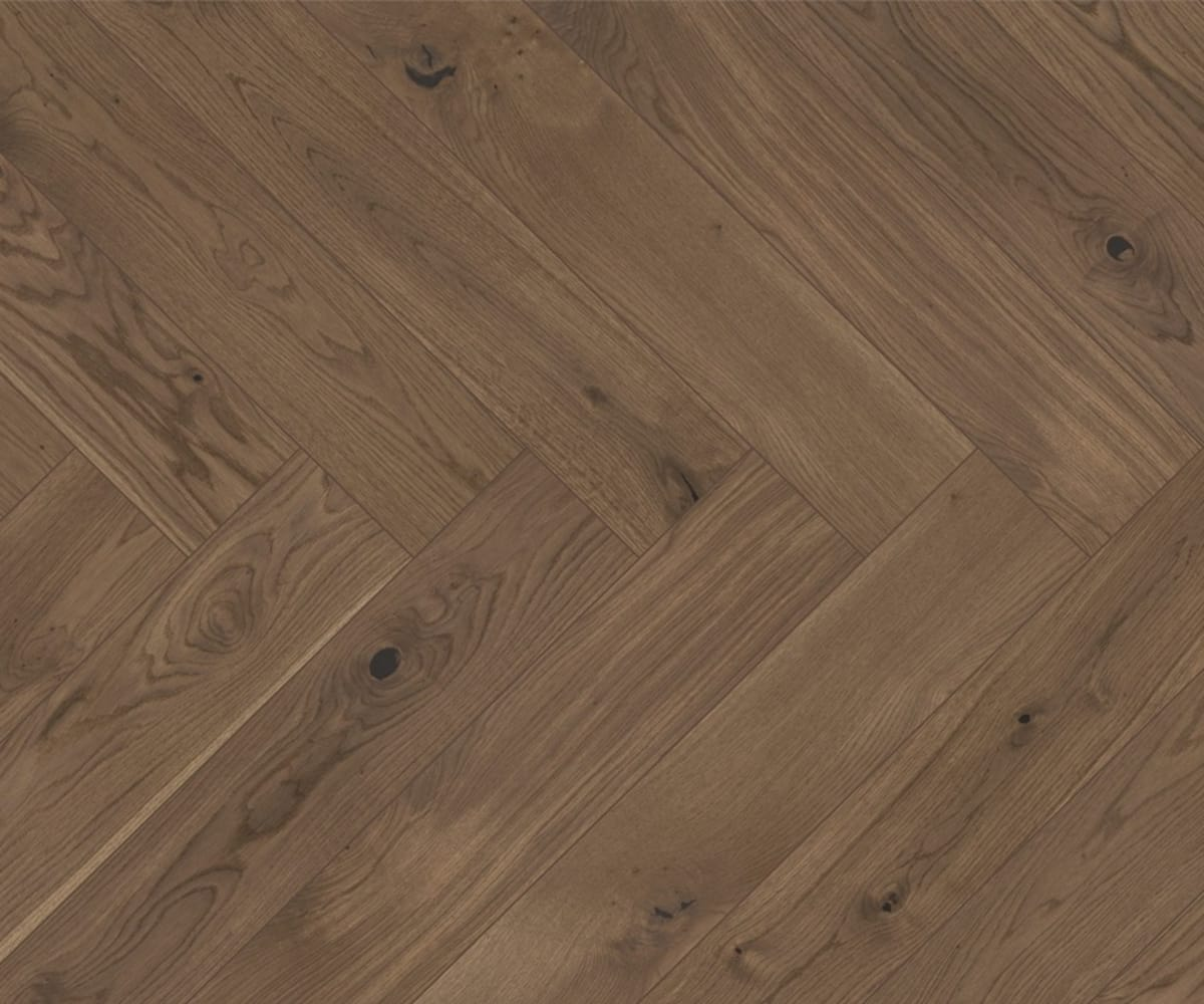 Smoked Stained Oak Herringbone Rustic Engineered Parquet Click Block