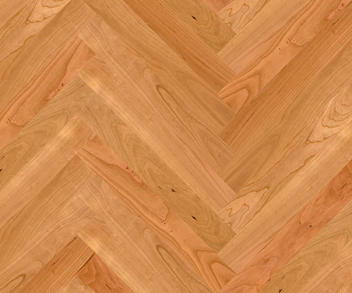 American Cherry Herringbone Parquet Lacquered Hardwood Floor