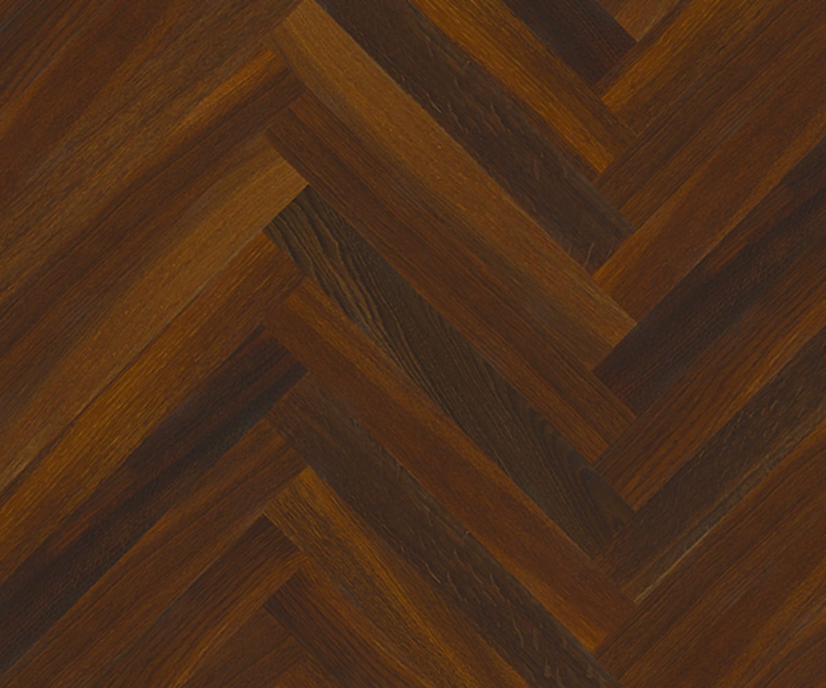 Smoked Oak Herringbone Parquet Lacquered Hardwood Floor