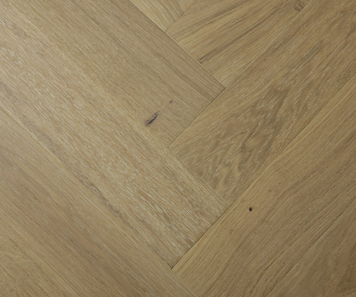 White Natural Oak Oiled Herringbone Engineered Parquet Block
