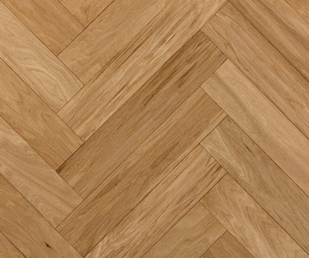 Herringbone 600mm Oak Engineered Unfinished Block Parquet Flooring