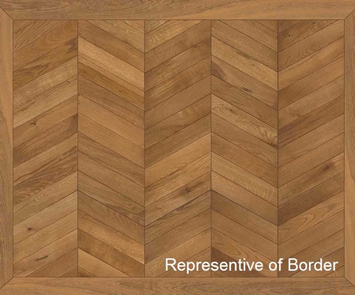White Oiled Oak Chevron Parquet Flooring Border