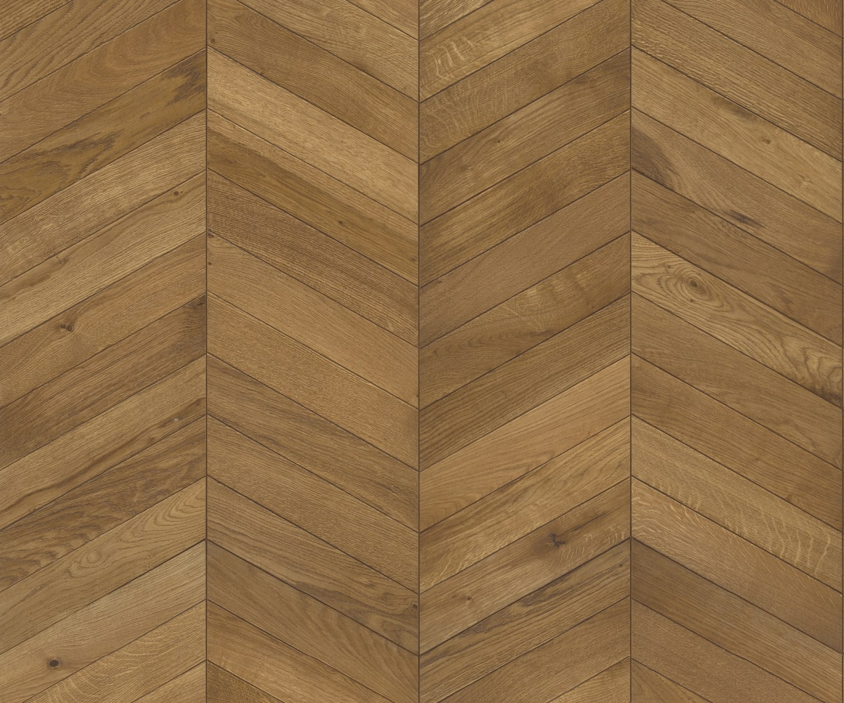 Light Brown Oiled Vintage Oak Chevron Parquet