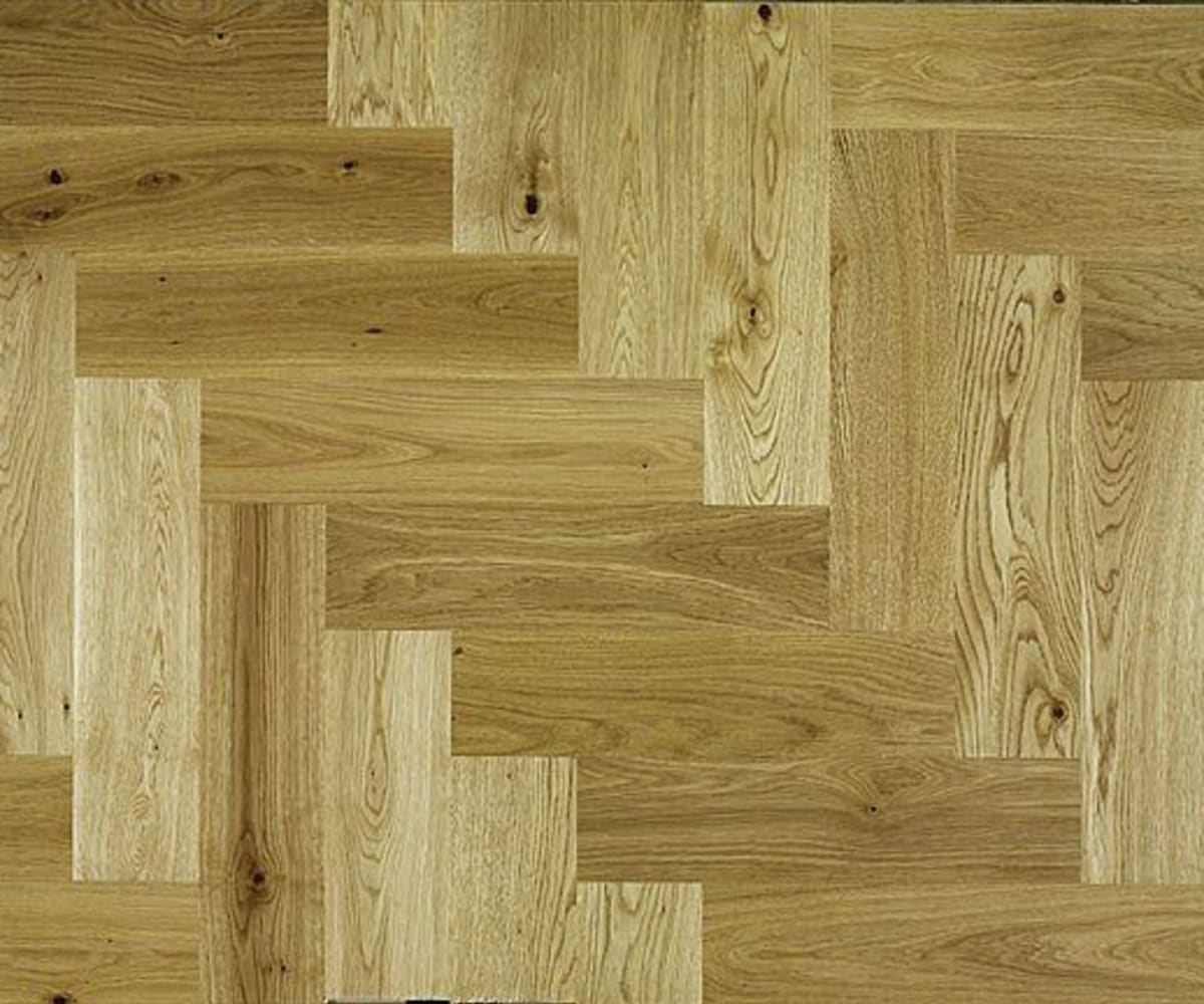 Natural Oak 300mm Herringbone Parquet Block