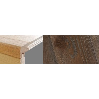 Dark Grey Stained 15mm Oak Stair Nosing Profile Soild Hardwood 2.7m